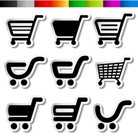 stickers of shopping cart, trolley, item, button - illustration Stock Vector - 22767823