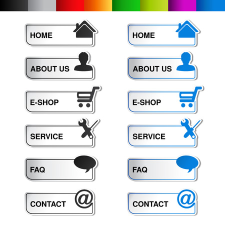 instruction manual:  web navigation template -  6 menu items, steps, options - illustration