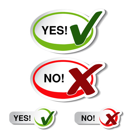 yes or no:  oval yes no button - check mark symbol - illustration