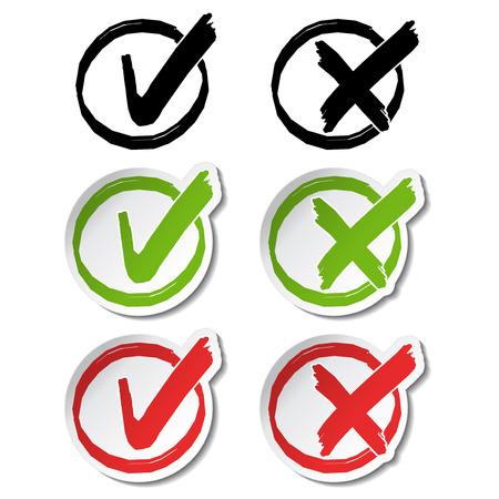 garrapata: circulares símbolos de marca de verificación - ilustración Vectores