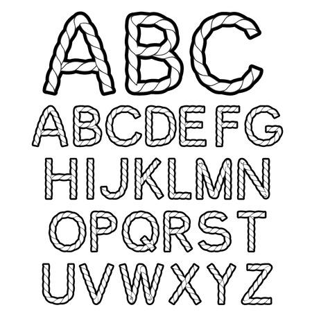 sentence typescript:  black white rope font alphabet - illustration