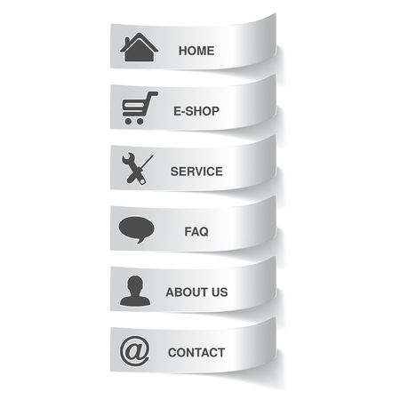 instruction manual: paper navigation template -  6 menu items, options - illustration Illustration