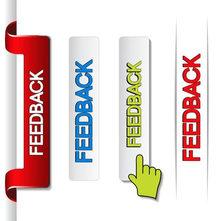 feedback sticker:  feedback labels, paper stickers - illustration