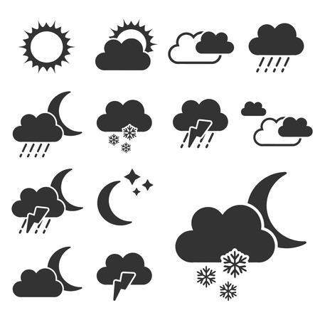 climatology: set of black weather symbols - sign, icon - illustration
