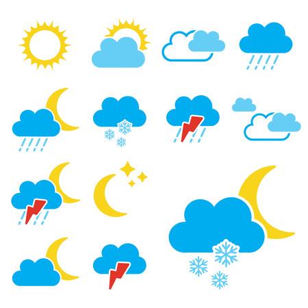 climatology: set of color weather symbols - sign, icon - illustration