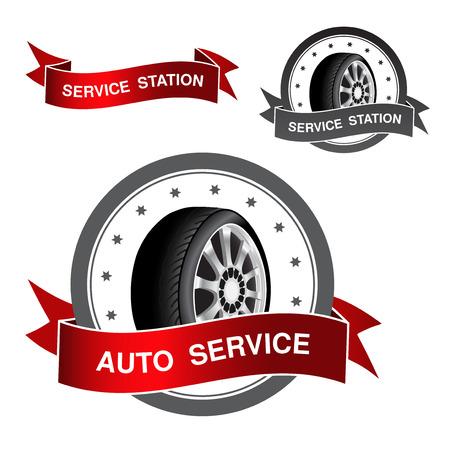 tire shop: symbol of auto service - sign, icon, sticker - illustration