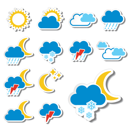 climatology: set of color weather stickers - symbol, sign, icon - illustration