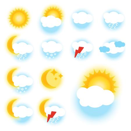 climatology:  color weather symbols - sign, icon -  illustration
