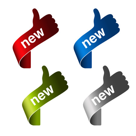 nieuwe labels met gebaar hand - teken op de hoek product - illustratie