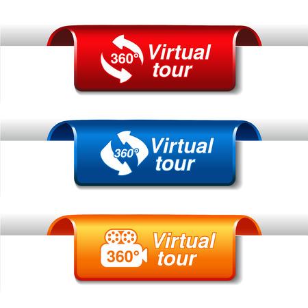 labels for virtual tour - illustration Vector
