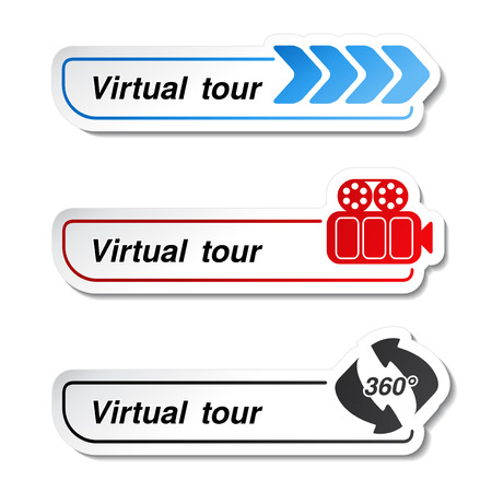 sightseeing tour:  labels - stickers for virtual tour - illustration Illustration