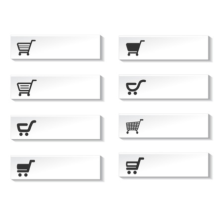 add to shopping cart icon: buttons of shopping cart, trolley, item - illustration