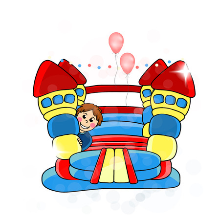 bounce:  bouncy castle - childrens entertainment  illustration