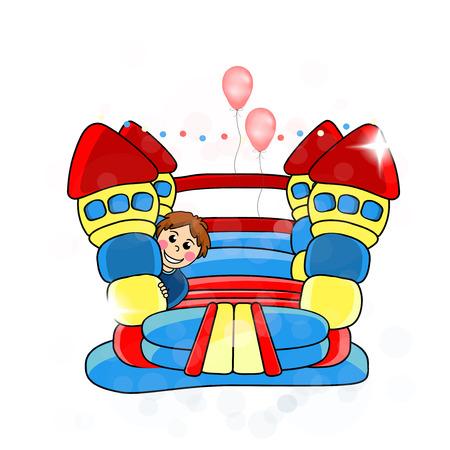 springkasteel - kinderanimatie illustratie Stock Illustratie