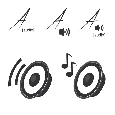 loud speaker:  speaker icons - symbols of volume, music - illustration