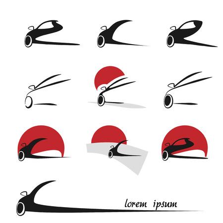 highway icon: silhouette car icons, symbols - illustration Illustration