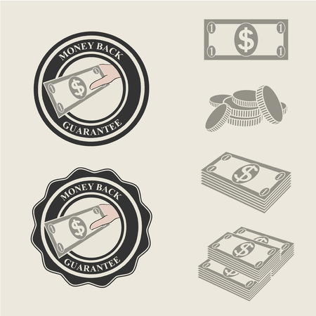 money back guarantee icons and symbols of payment - illustration Vector