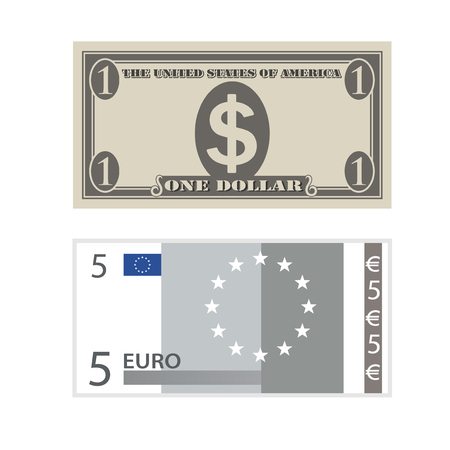 five dollars: Vector payment icons, five euro and one dollar symbol, finance - illustration