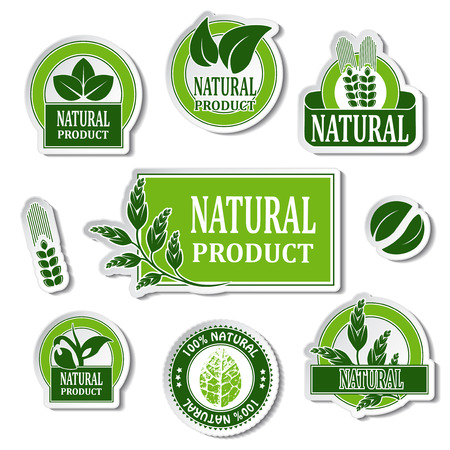 nature stickers for natural product - illustration
