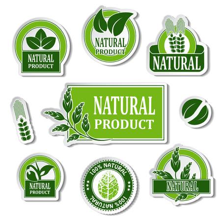 natuur stickers voor natuurlijk product - illustratie