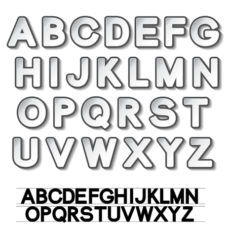 sentence typescript: paper font alphabet - white stickers - illustration