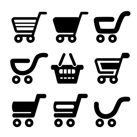 e cart: black simple shopping cart, trolley, item, button - illustration