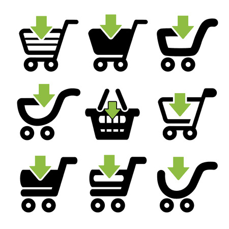black simple shopping cart, trolley with green arrow, item - illustration Vector