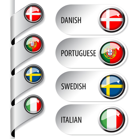 language pointers with flag for web - set 2 - illustration Vector