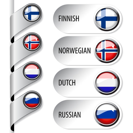 language pointers with flag for web - set 4 - illustration Vector