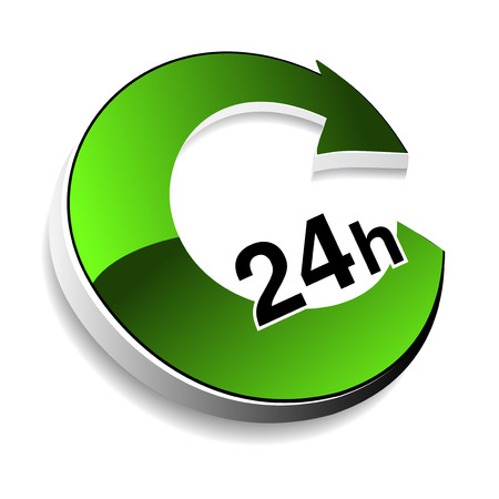 24h: symbol - delivery of purchase a home within 24 hours - illustration