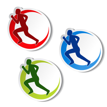 circular stickers of fitness runner silhouette illustration