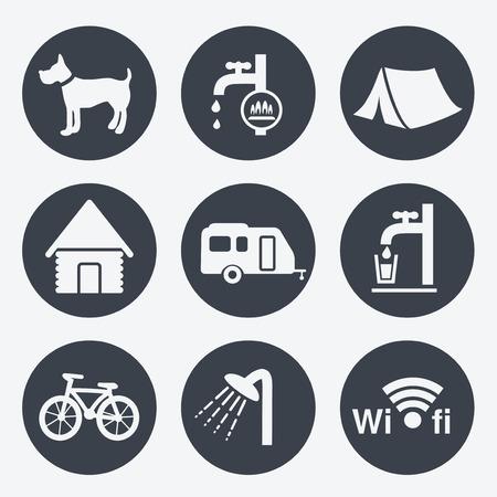 camping icons circular buttons set illustration Vector