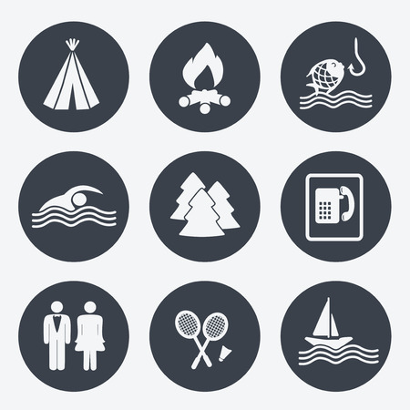 camping icons circular buttons set illustration Vector