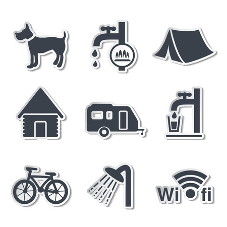 chalets: camping icons stickers illustration