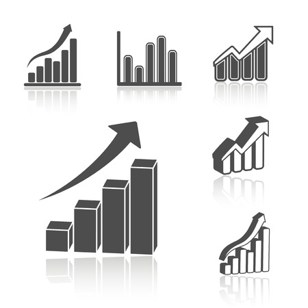 financial symbols: set of business statistic graph - infographic icons, symbols illustration