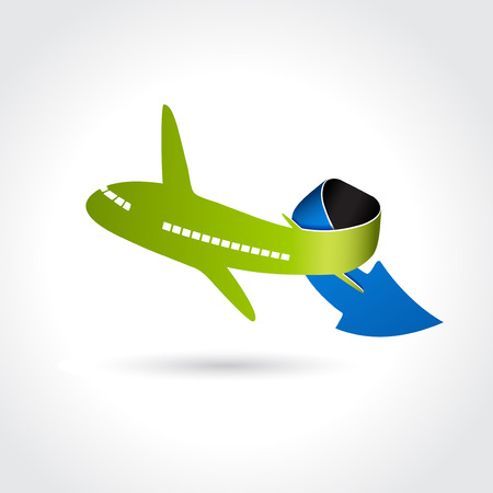 transport icon: business delivery symbol, transport icon, airplane with arrow illustration
