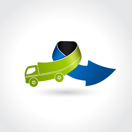 transport icon: business delivery symbol, transport icon, truck with arrow illustration