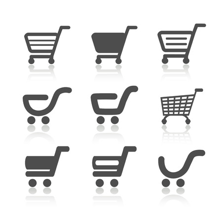 e cart: simple shopping cart, trolley with shadow, item, button - illustration Illustration