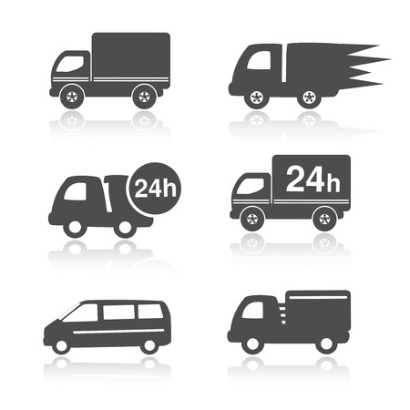 truck symbols with shadow, delivery within 24 hours, car icons illustration Illustration