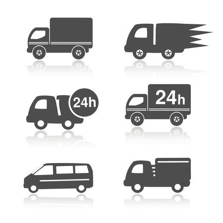 vrachtwagen symbolen met schaduw, levering binnen 24 uur, autopictogrammen illustratie