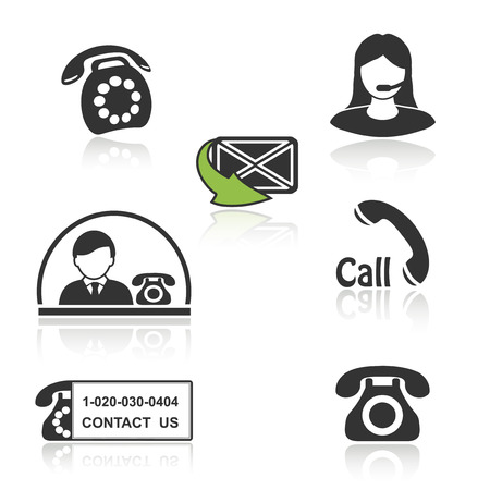 centre: Vector contact, call icons - phone symbols  with shadow - illustration