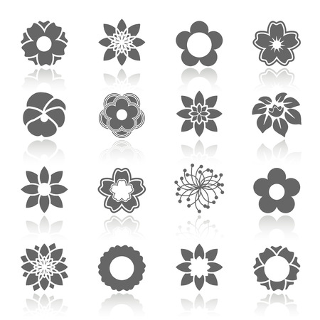 gray flower: Vector set of blooming flowers with shadow - symbol, icon of flower - illustration