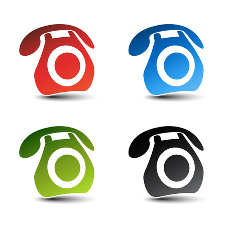 Vector contact, call icons - phone symbols with shadow - illustration Vector