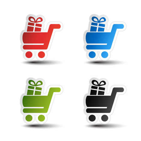 Vector simple shopping cart, trolley with gift, item, button - illustration Vector