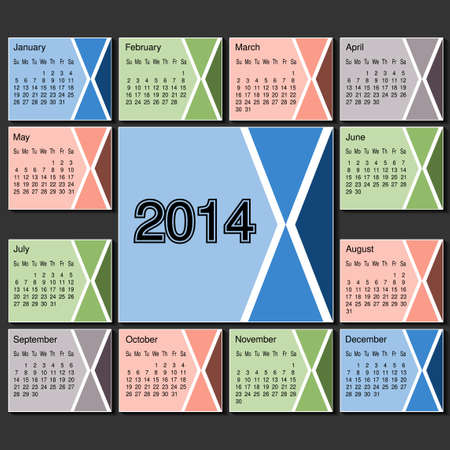 Vector calendar 2014 year template, modern layout page - illustration Vector