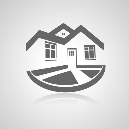Vector symbol of home, house icon, realty silhouette Vector