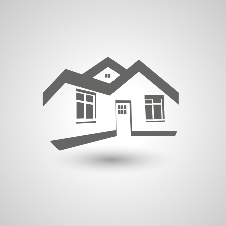 Vector symbol of home, house icon, realty silhouette
