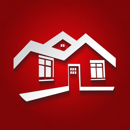realty: Vector symbol of home, house icon, realty silhouette