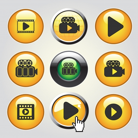 Vector video media icons - buttons to play video, film - illustration Vector