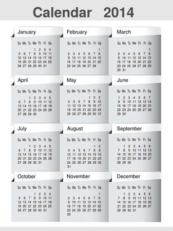 Vector simple calendar 2014 year template, modern layout page - illustration Vector
